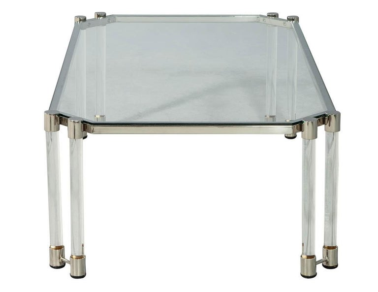 Late 20th Century Maison Jansen Style Glass Acrylic Modern Cocktail Table For Sale