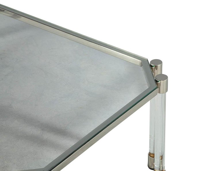Stainless Steel Maison Jansen Style Glass Acrylic Modern Cocktail Table For Sale
