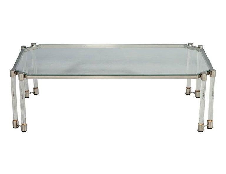 Maison Jansen Style Glass Acrylic Modern Cocktail Table For Sale 1
