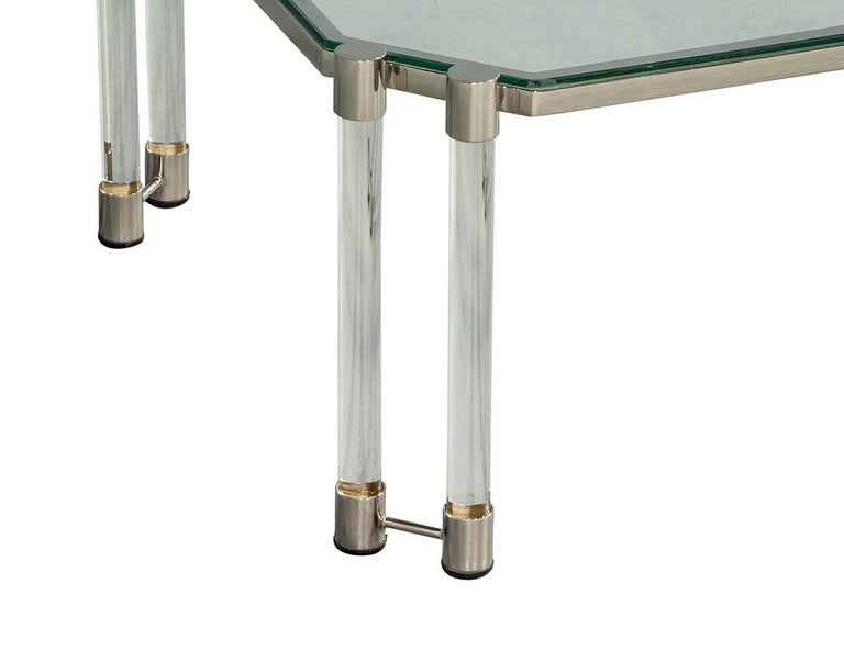 Maison Jansen Style Glass Acrylic Modern Cocktail Table For Sale 2