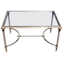 Apartment Sized Maison Jansen Style Brass Steel and Glass Top Coffee Table