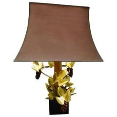 "Maison Jansen Style Gold, Wood and Purple Glass ""Grape Vines"" Table Lamp, 1970s"