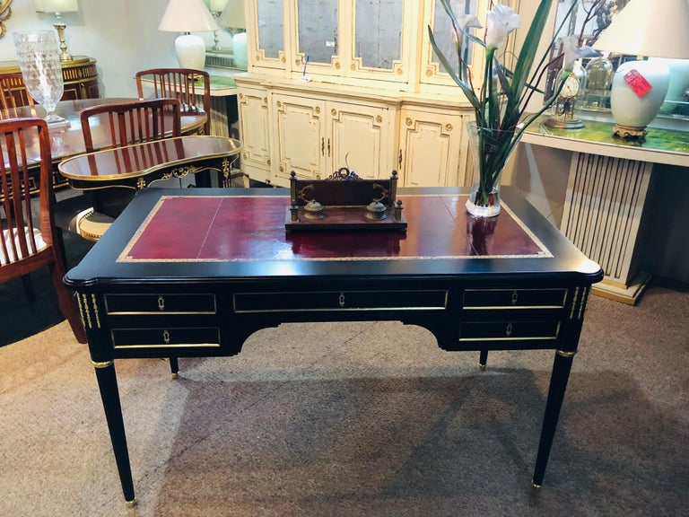 20th Century Maison Jansen Style Louis XVI Fashioned Red Tooled Leather Top Ebony Desk