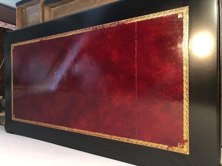Maison Jansen Style Louis XVI Fashioned Red Tooled Leather Top Ebony Desk 1