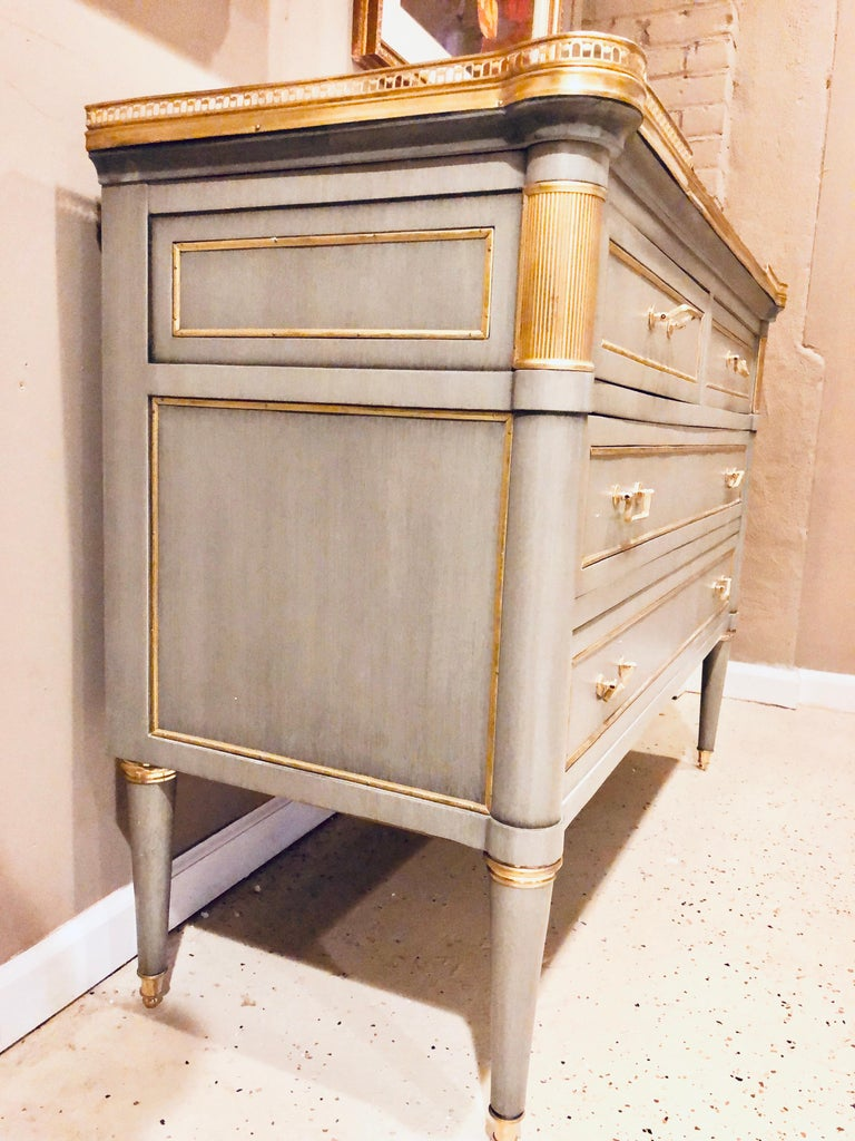 Maison Jansen Style Louis XVI Painted Commodes, Chests or Nightstands a Pair  For Sale 5