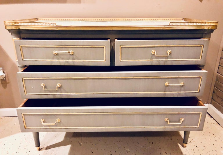 Maison Jansen Style Louis XVI Painted Commodes, Chests or Nightstands a Pair  For Sale 6