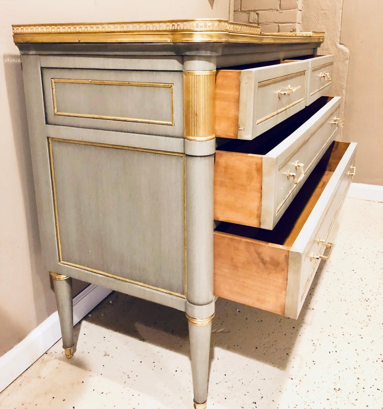 Maison Jansen Style Louis XVI Painted Commodes, Chests or Nightstands a Pair  For Sale 7