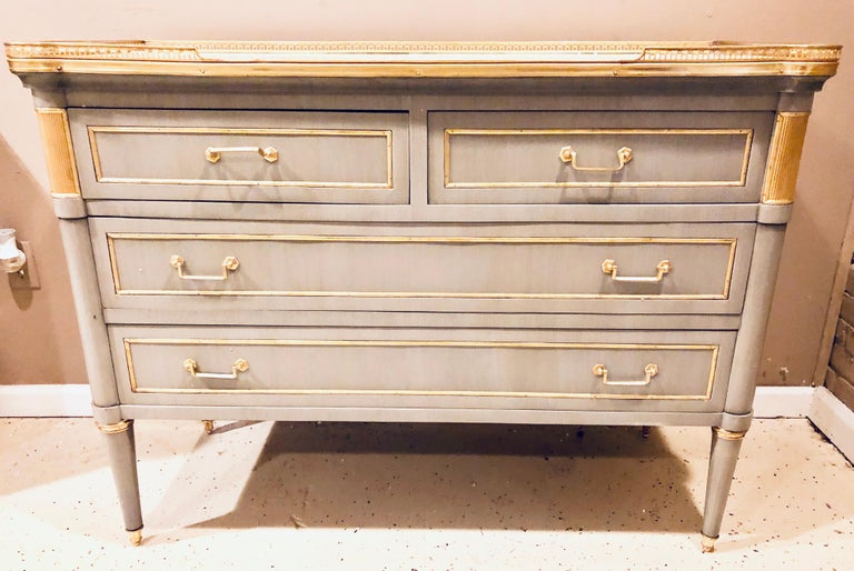 20th Century Maison Jansen Style Louis XVI Painted Commodes, Chests or Nightstands a Pair  For Sale