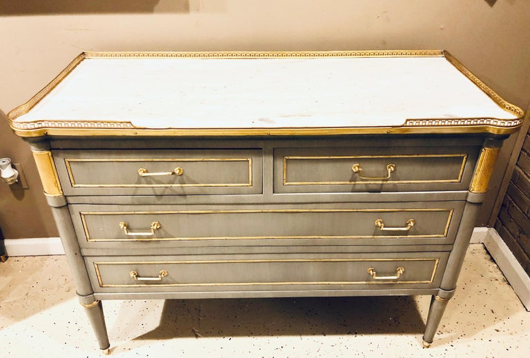 Bronze Maison Jansen Style Louis XVI Painted Commodes, Chests or Nightstands a Pair  For Sale