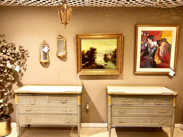 Maison Jansen Style Louis XVI Painted Commodes, Chests or Nightstands a Pair  For Sale 1