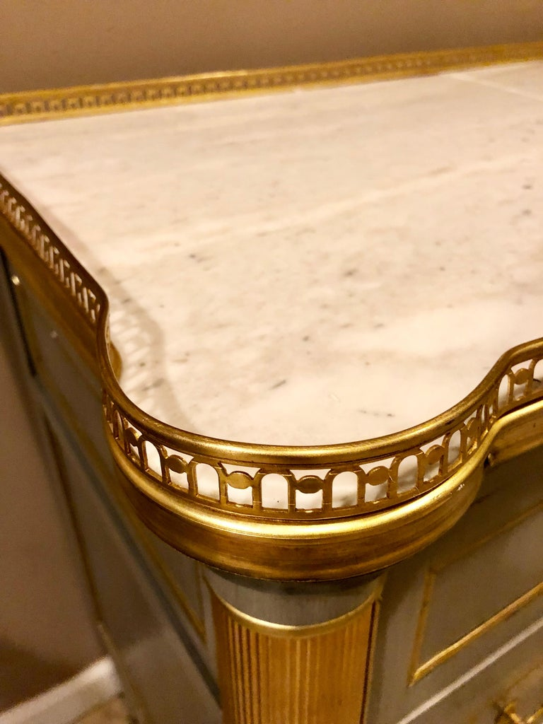 Maison Jansen Style Louis XVI Painted Commodes, Chests or Nightstands a Pair  For Sale 3