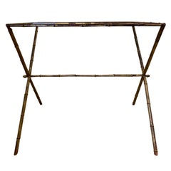 Maison Jansen Style Gilded Faux Bamboo Side Table with Glass Top