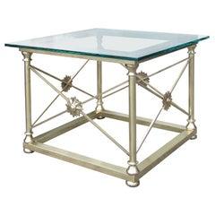 Maison Jansen Style Mid-20th Century Italian Square Bronze & Glass Table