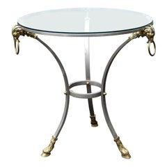 Maison Jansen Style Mid-20th Century Steel & Brass Gueridon Table with Glass Top