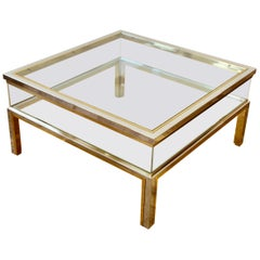 Maison Jansen Style Midcentury Brass and Chrome Bicolor Vitrine Coffee Table