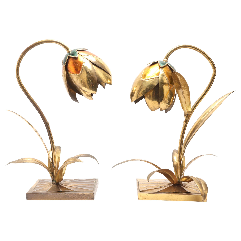 Maison Jansen Style Mid-Century Modern Brass and Enamel Table Lamps