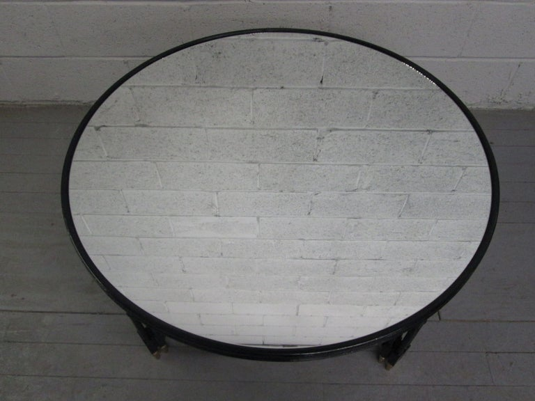 Directoire Maison Jansen Style Mirrored Top Coffee Table For Sale