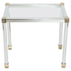 Maison Jansen Style Modern Metal and Glass Side Table