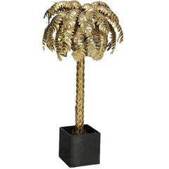 Maison Jansen Style Monumental Hollywood Regency Brass Palm Tree Floor Lamp