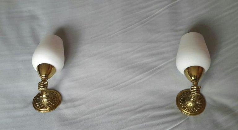 Maison Jansen Style Neoclassical Bronze Sconces, France, 1950 In Good Condition For Sale In Paris, FR