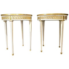 Maison Jansen Style Pair of Bouillotte / End Tables, Side Table or Pedestals