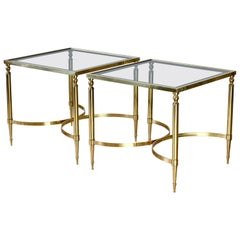 Maison Jansen Style Pair of French Brass & Glass Side / End Tables / Nightstands