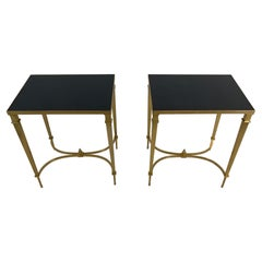 Maison Jansen Style Pair of Sophisticated Brass & Black Granite End Tables