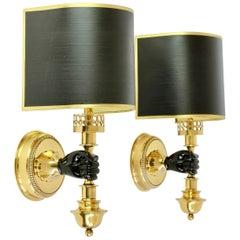 Maison Jansen Style Polished Brass Sconces by Vereinigte Werkstätten München