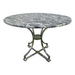 Maison Jansen Style Polished Steel and Marble-Top Center Table