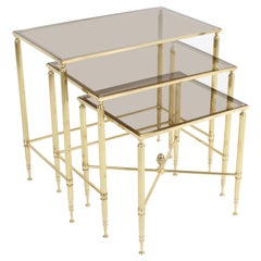 Maison Jansen Style, Set of Three Neo-Classical Bronze & Glass Nesting Tables