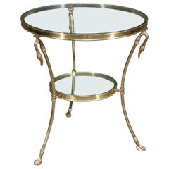Maison Jansen Style Solid Brass Swan Figural Gueridion End Side Table Circa 1980
