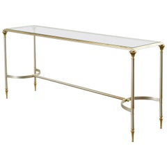 Maison Jansen Style Steel and Brass Console Table