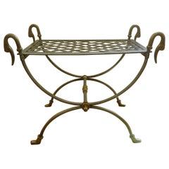Maison Jansen Style Steel and Bronze Antique Curule Swan Stool