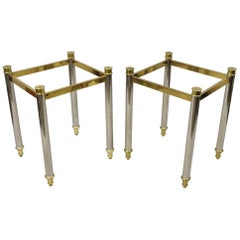 Maison Jansen Style Steel Chrome and Brass Hollywood Regency End Tables, a Pair