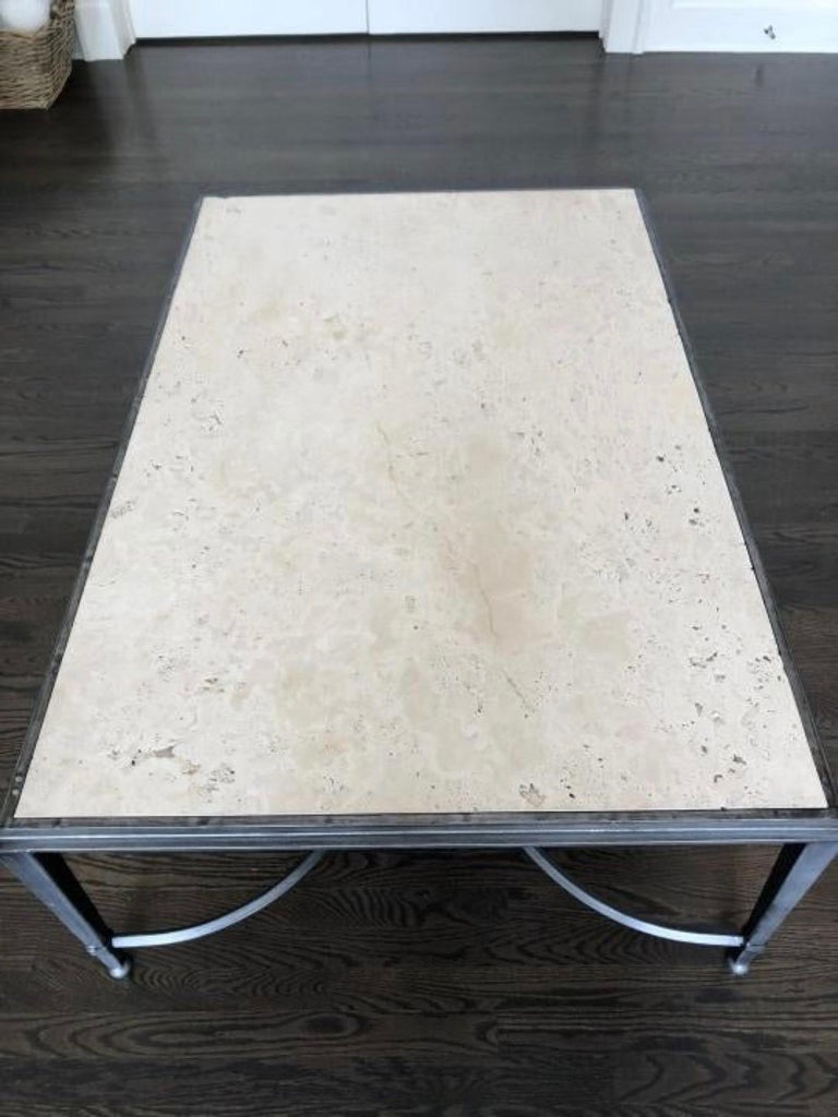 Maison Jansen Style Travertine Coffee Table For Sale 5