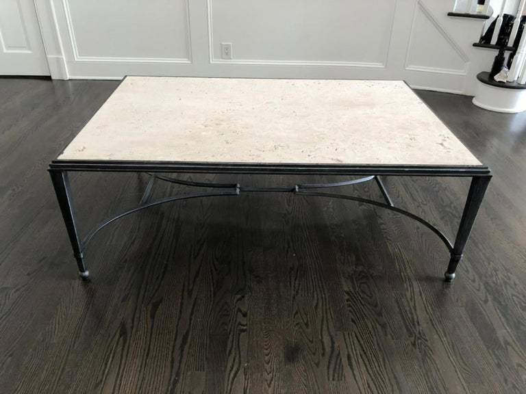 Maison Jansen Style Travertine Coffee Table For Sale 2