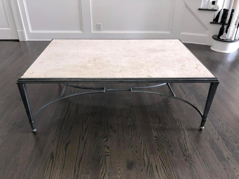 Maison Jansen Style Travertine Coffee Table For Sale 3
