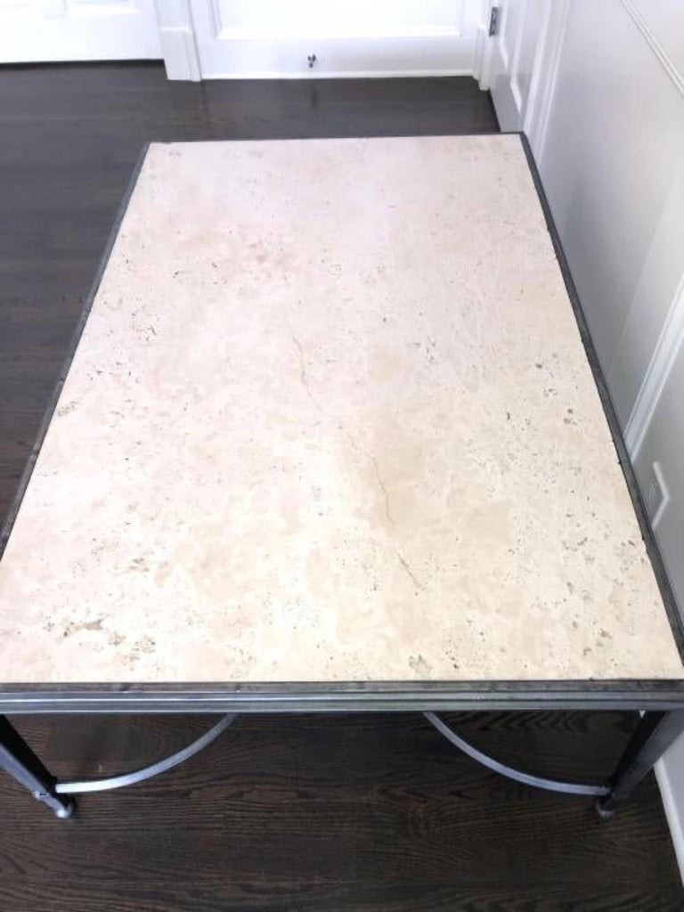 Maison Jansen Style Travertine Coffee Table For Sale 4