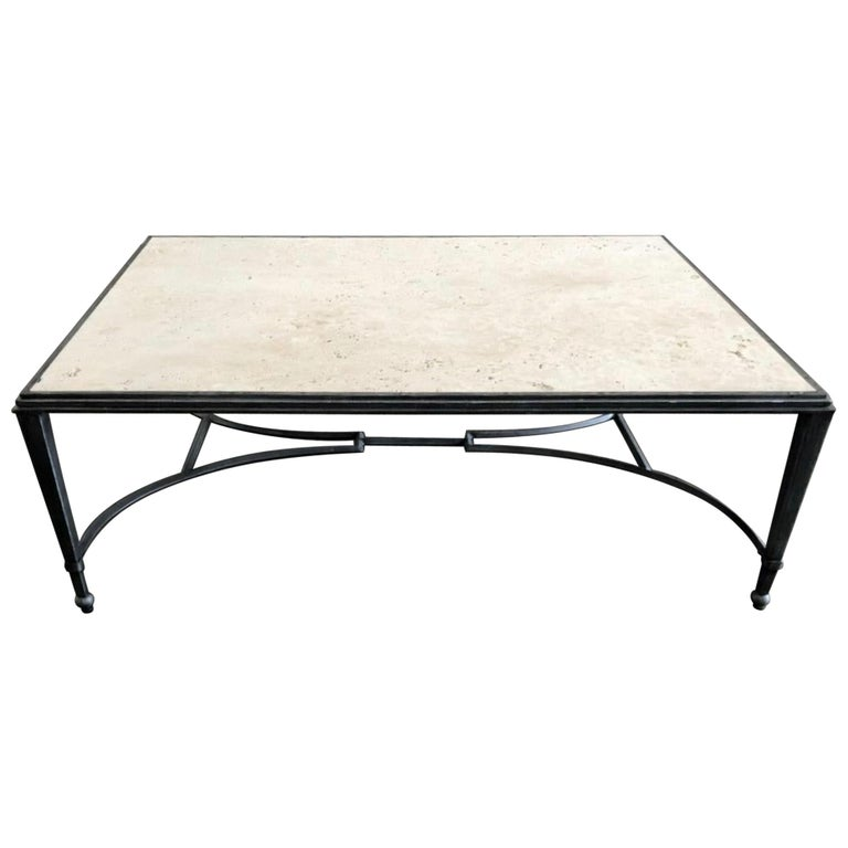 Maison Jansen Style Travertine Coffee Table For Sale