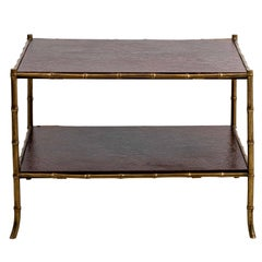 Maison Jansen Style Two Tiered Brass Bamboo Table