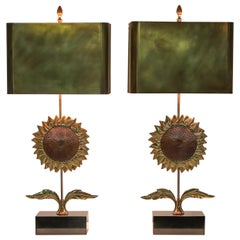 Maison Jansen Sunflower Pair of Lamps