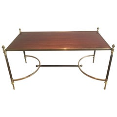 Maison Jansen. Very Nice Brushed Metal, Brass and Wood Coffee Table, circa 1940