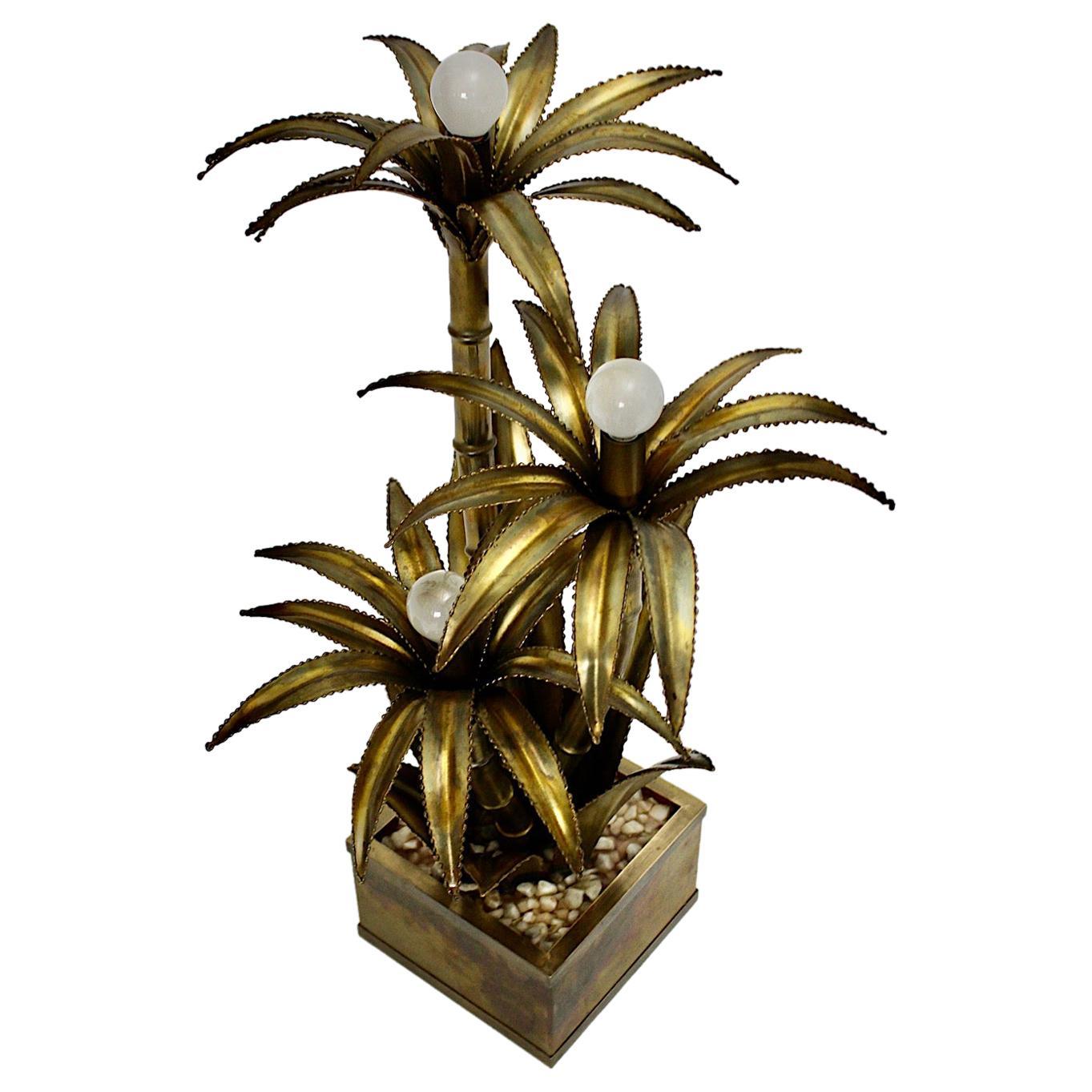 Maison Jansen Vintage Brass Palm Tree Table Lamp, 1970s, France