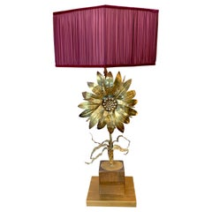 Maison Jansen Vintage Flower Brass Table Lamp with our Handcrafted Shade, 1970s