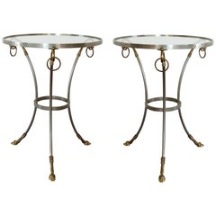 Maison Janssen Style Gueridon Side Tables in Stainless Steel and Brass, Italy