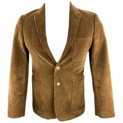 MAISON KITSUNE Size 36 Light Brown Corduroy Notch Lapel Brass Button Blazer