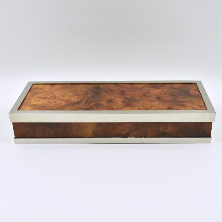 Maison Lancel Chrome Burl Wood Box For Sale 3
