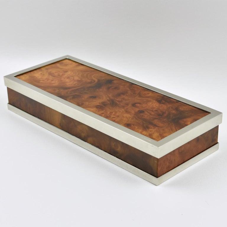 Modern Maison Lancel Chrome Burl Wood Box For Sale