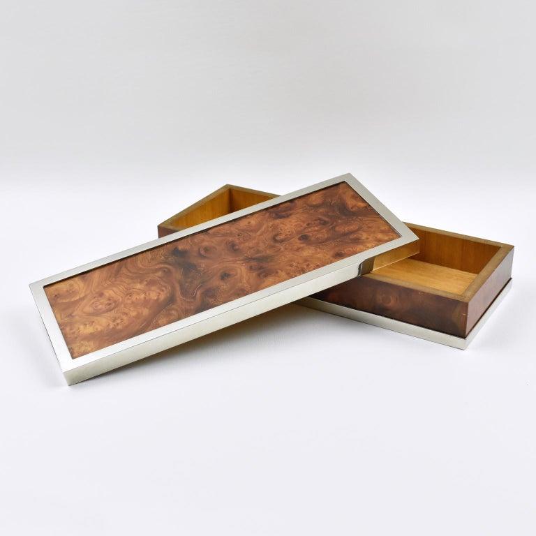 French Maison Lancel Chrome Burl Wood Box For Sale