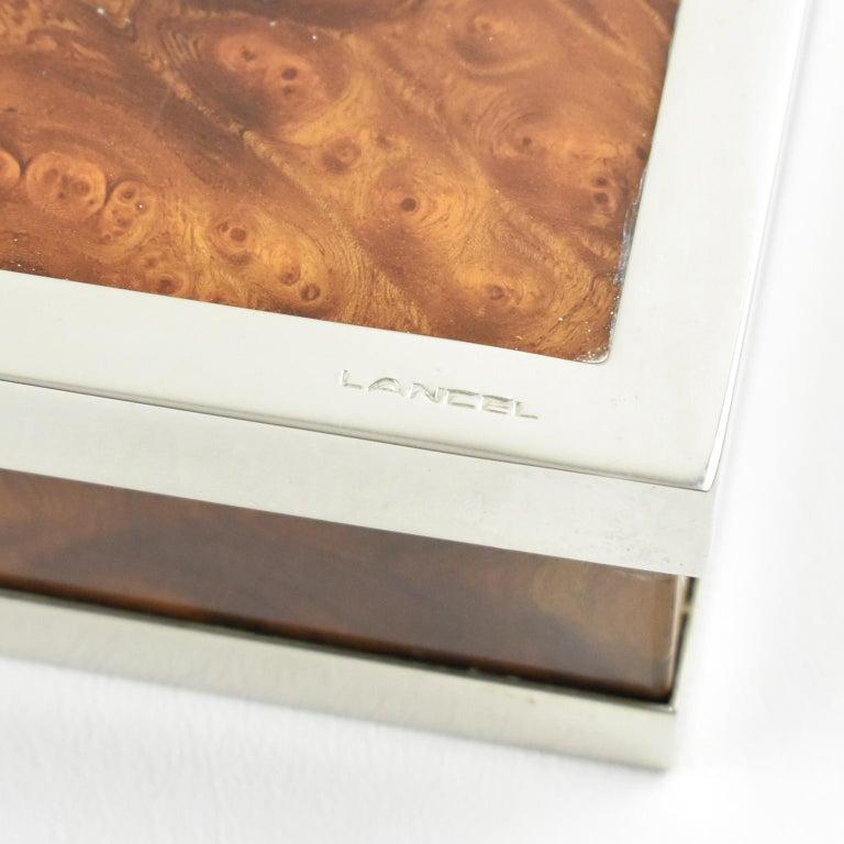 20th Century Maison Lancel Chrome Burl Wood Box For Sale
